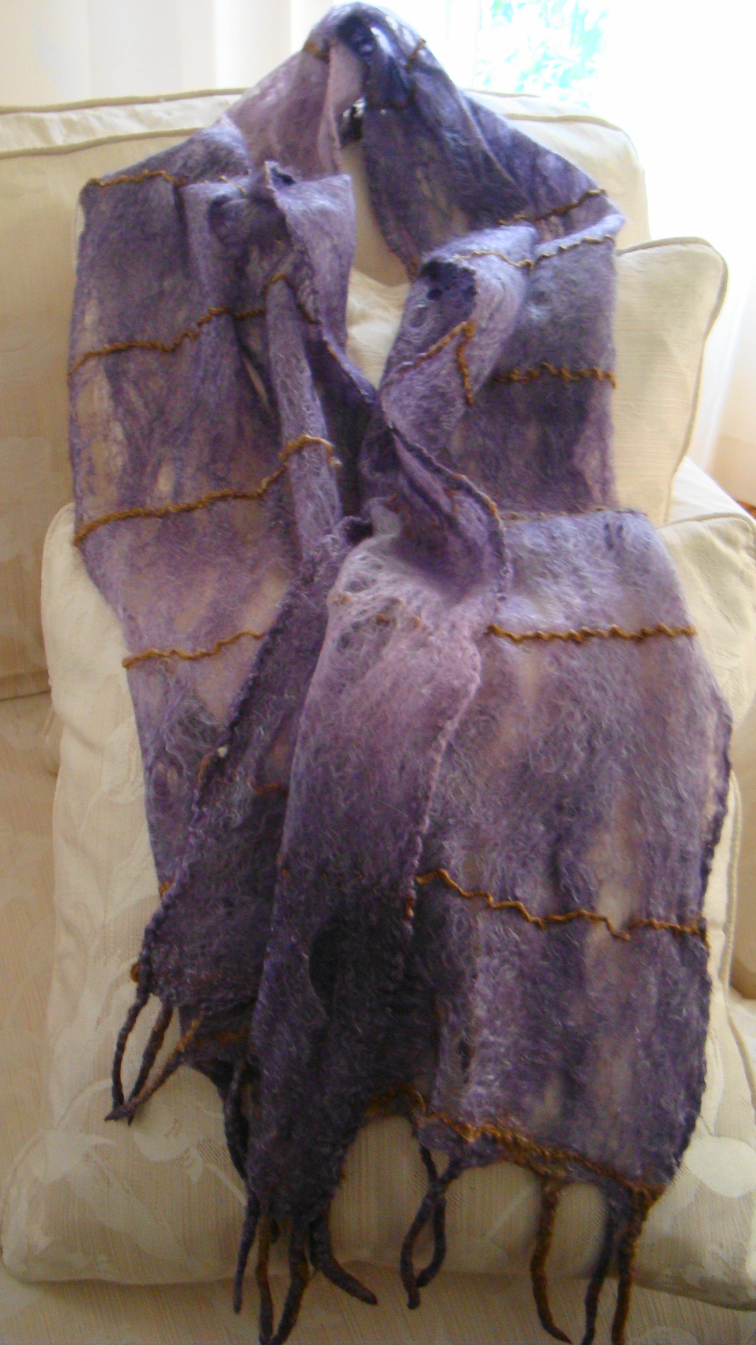 Felted Purple Silk and Merino Fibwer Scarf with Gold Line Illustration.JPG