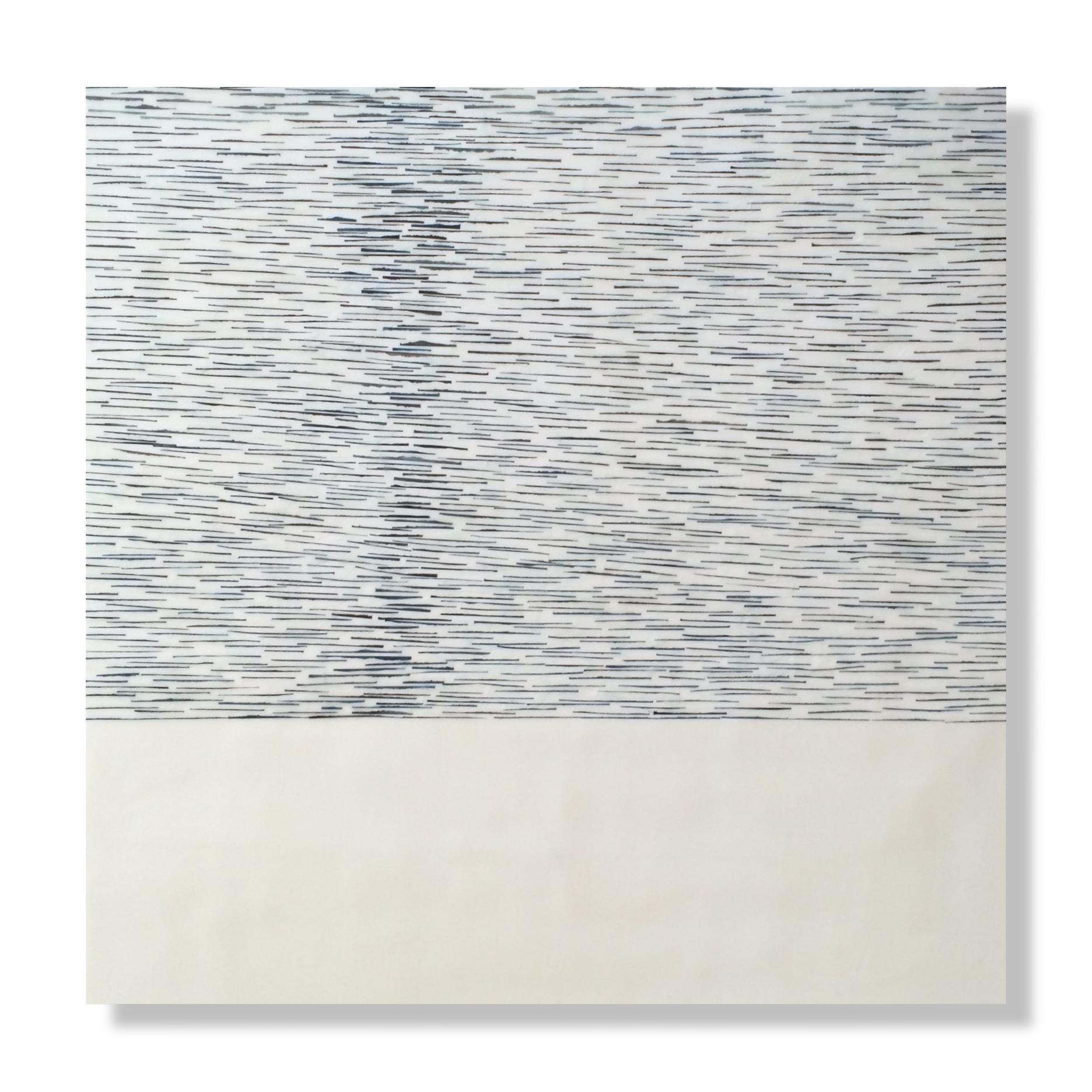 """Adrift 8, 2016 Encaustic, Mulberry Paper, Watercolor 24"""" x 24""""x .875"""""""