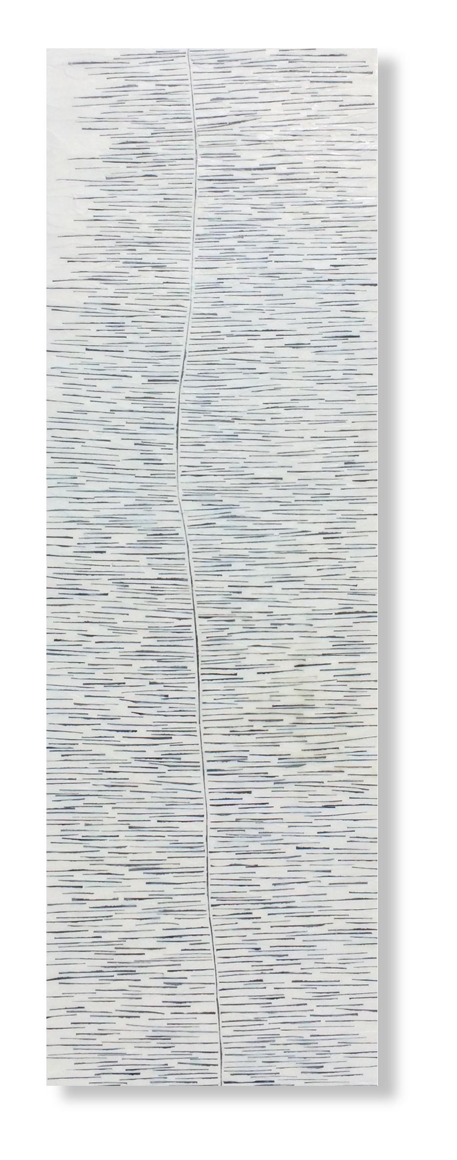 "Tidal Shift, 2016 Encaustic, Mulberry Paper, Watercolor 12"" x 36""x .1"" SOLD"