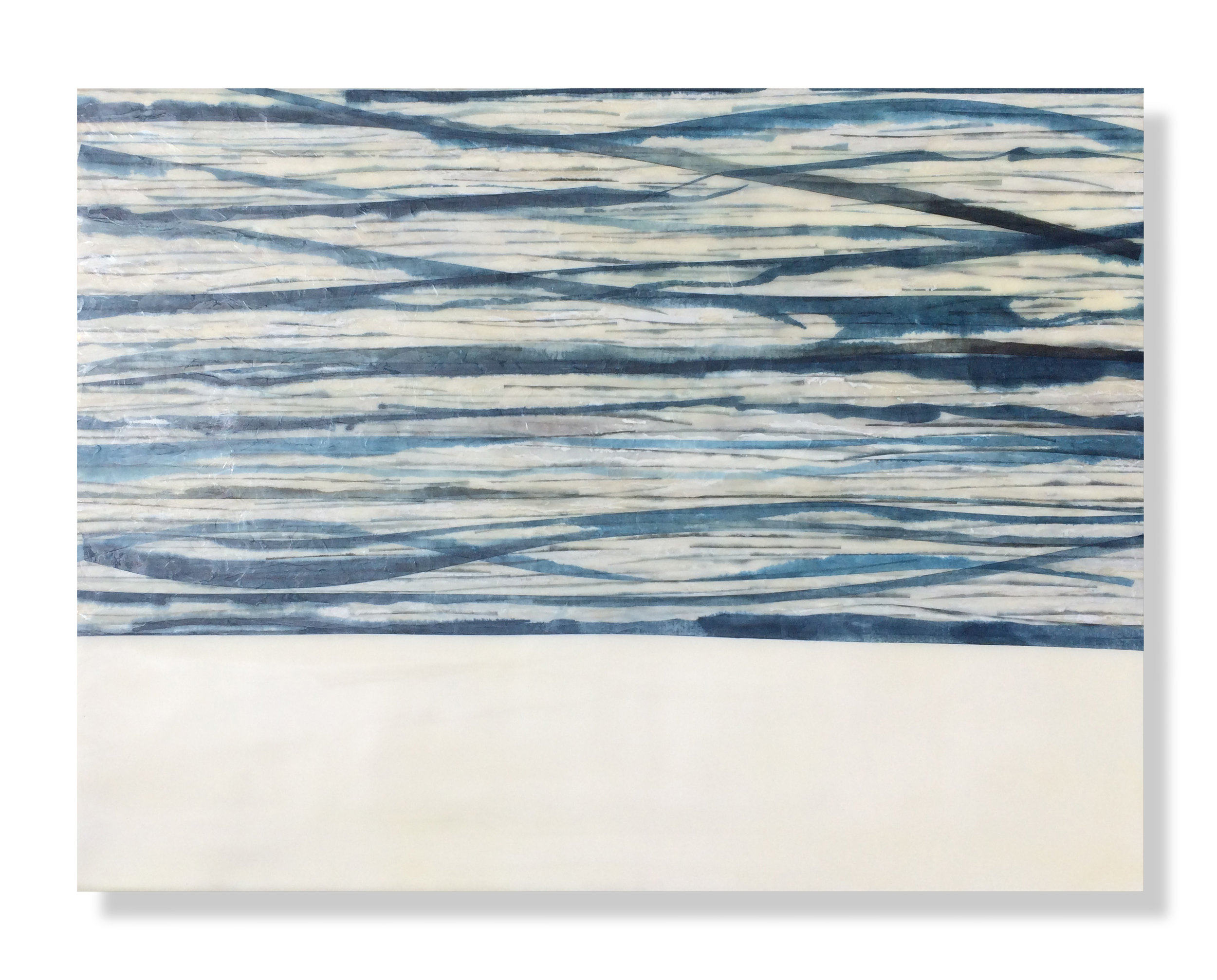 """Swell Encaustic, Mulberry Paper, Watercolor 24"""" x 18""""x 2"""" SOLD"""
