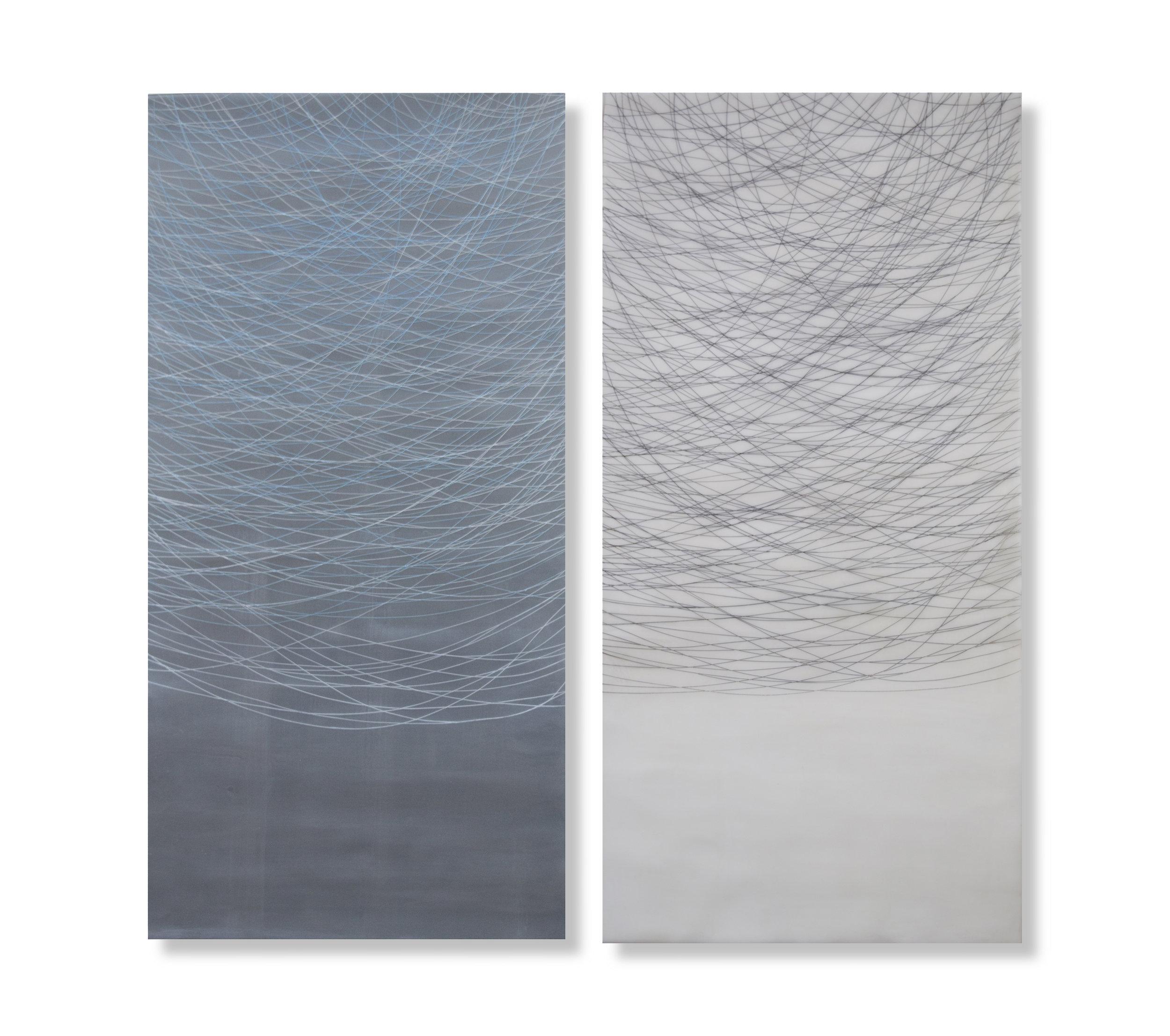 """Threads, 2016 Encaustic, Oil 36"""" x 24""""x 1"""""""