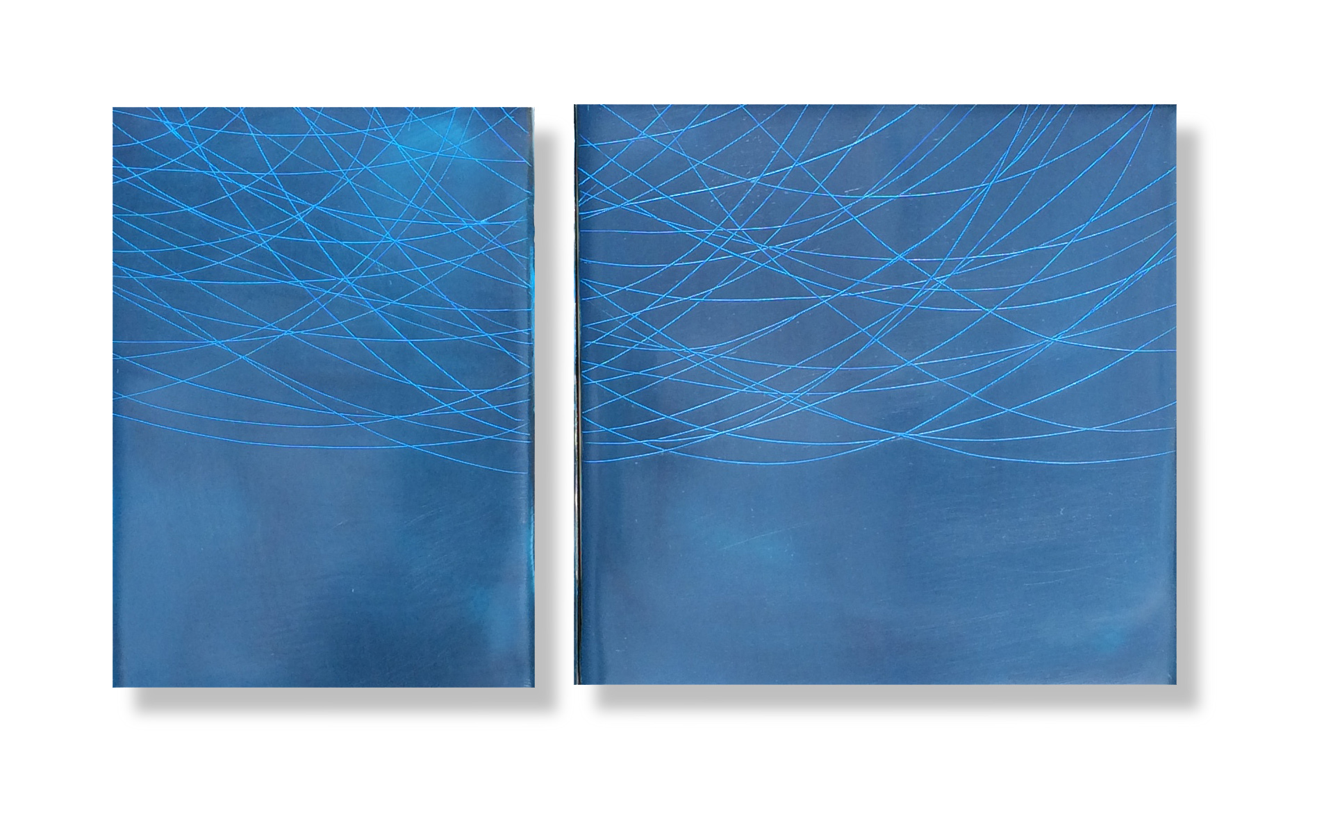 "Blue Threads, 2015 Encaustic, Oil 10"" x 6"" x 1"" SOLD"