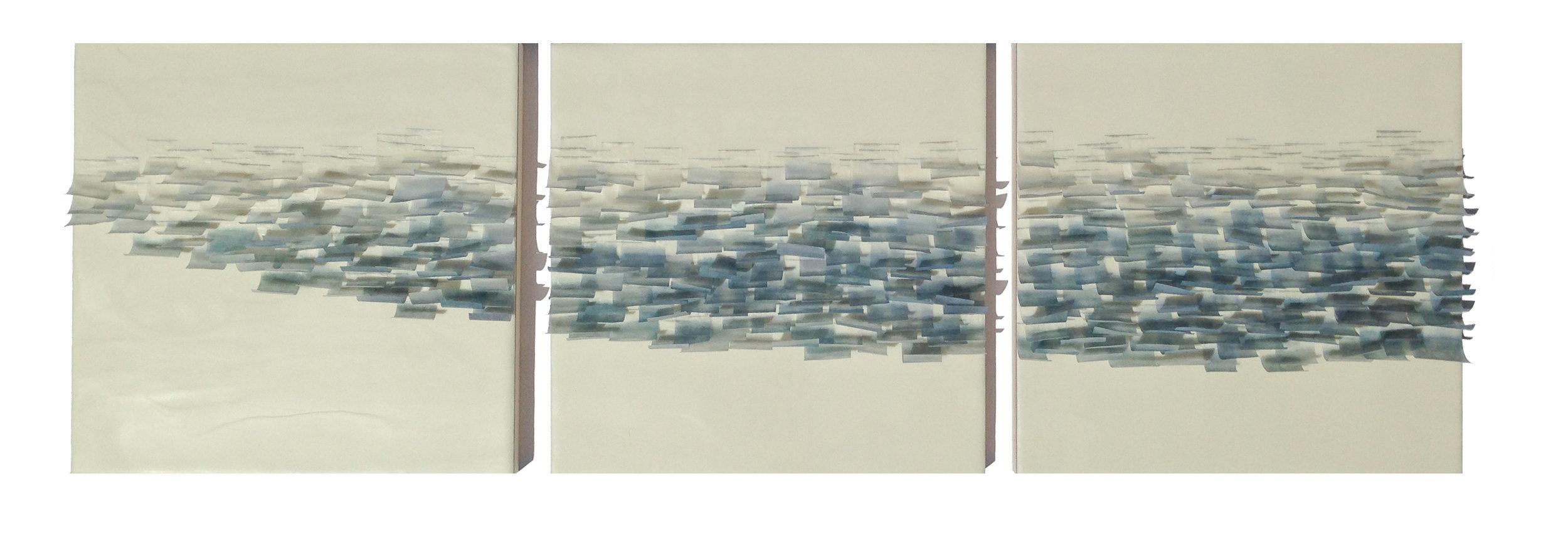 "Flutter 5, 2014 Encaustic, Mulberry Paper, Watercolor 36"" x 12""x 1"" SOLD"