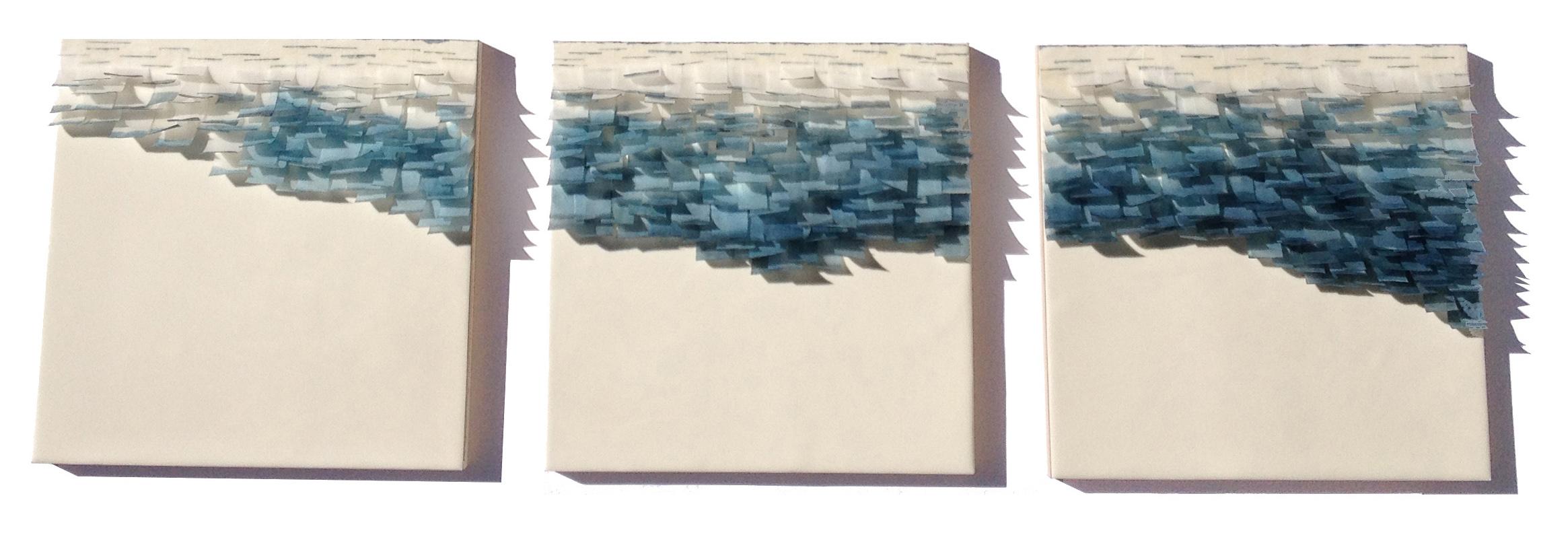"Flutter 4, 2014 Encaustic, Mulberry Paper, Watercolor 36"" x 12""x 1"" SOLD"