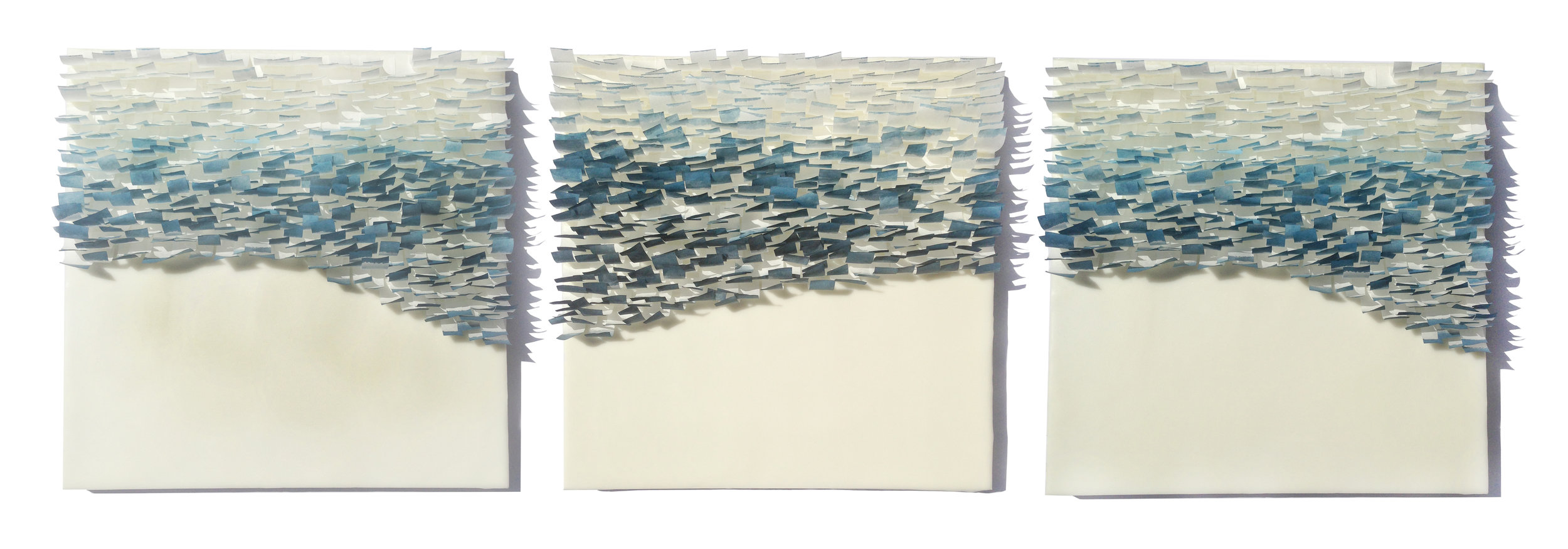 "Flutter, 2014 Encaustic, Mulberry Paper, Watercolor 36"" x 12""x 1"" SOLD"