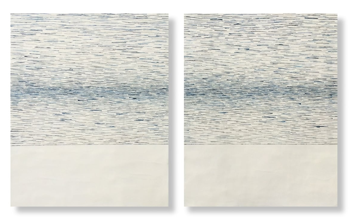 "Adrift 4, 2016 Encaustic, Mulberry Paper, Watercolor 48"" x 29""x 1"" SOLD"