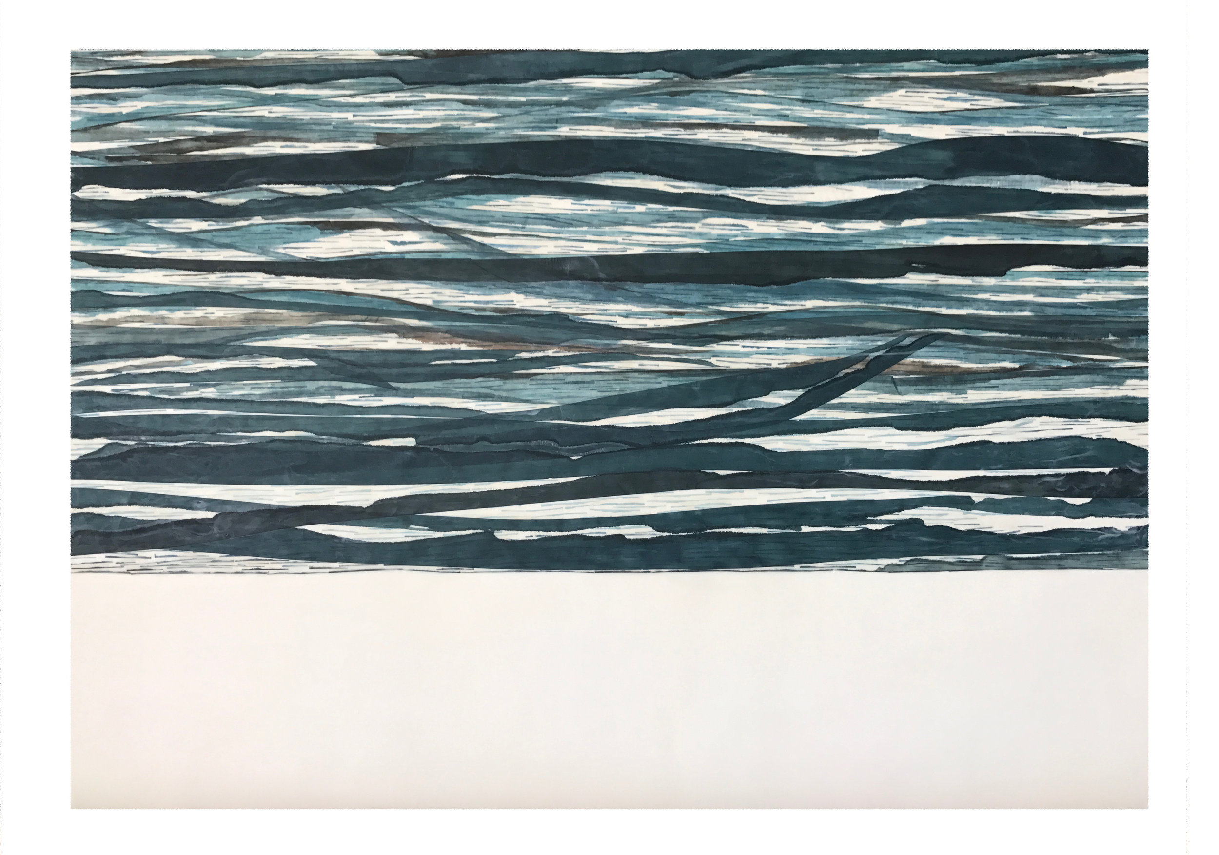 "Swell 2, 2017 Encaustic, Mulberry Paper, Watercolor 40"" x 30"" x 1.5"""