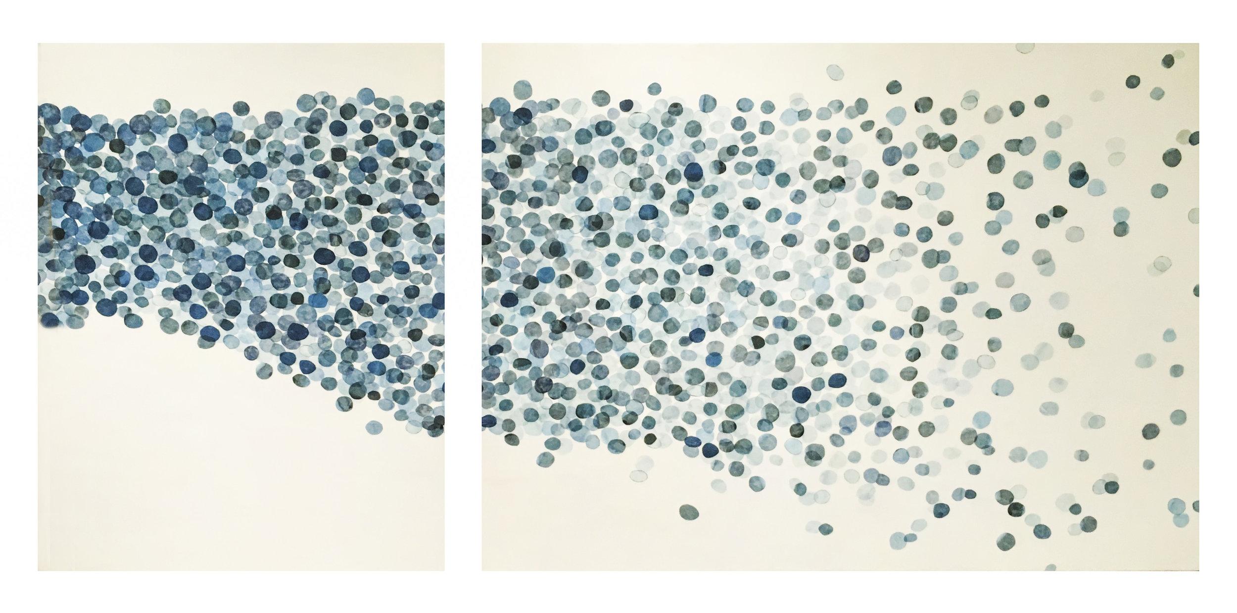 """Flow 1, 2016 Encaustic, Mulberry Paper, Watercolor 7' 7"""" x 49""""x 2"""" Commission"""