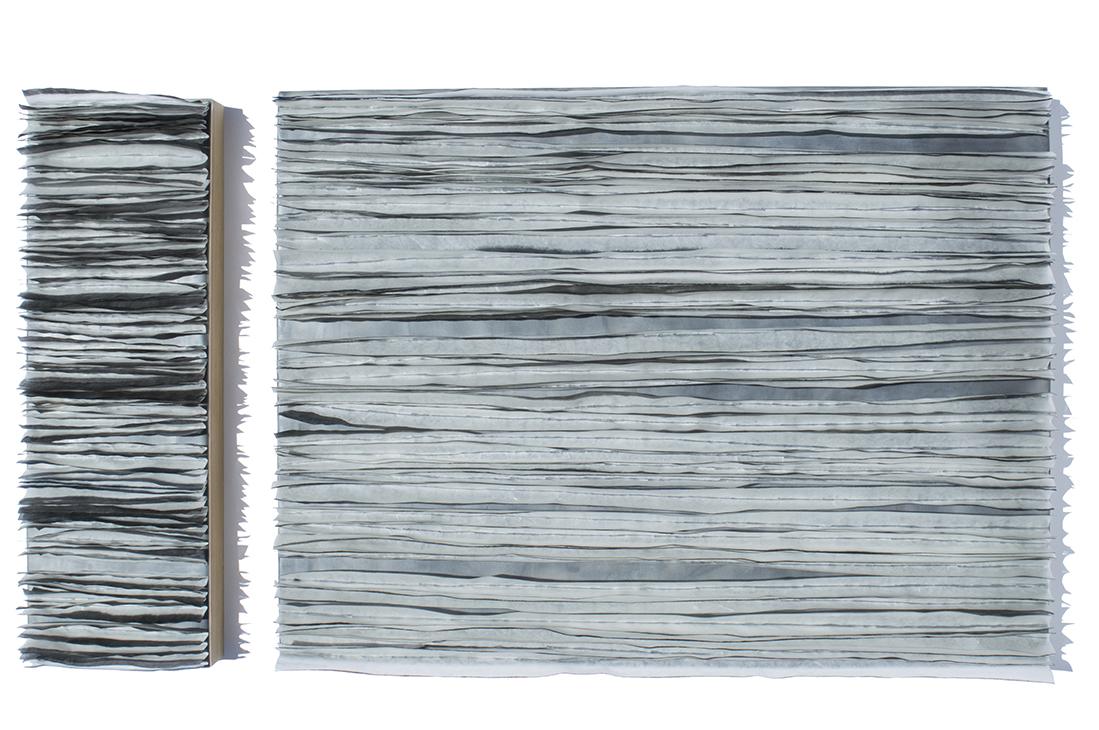 "Edge, 2016 Encaustic, Mulberry Paper, Watercolor 29"" x 18"" x 2"""