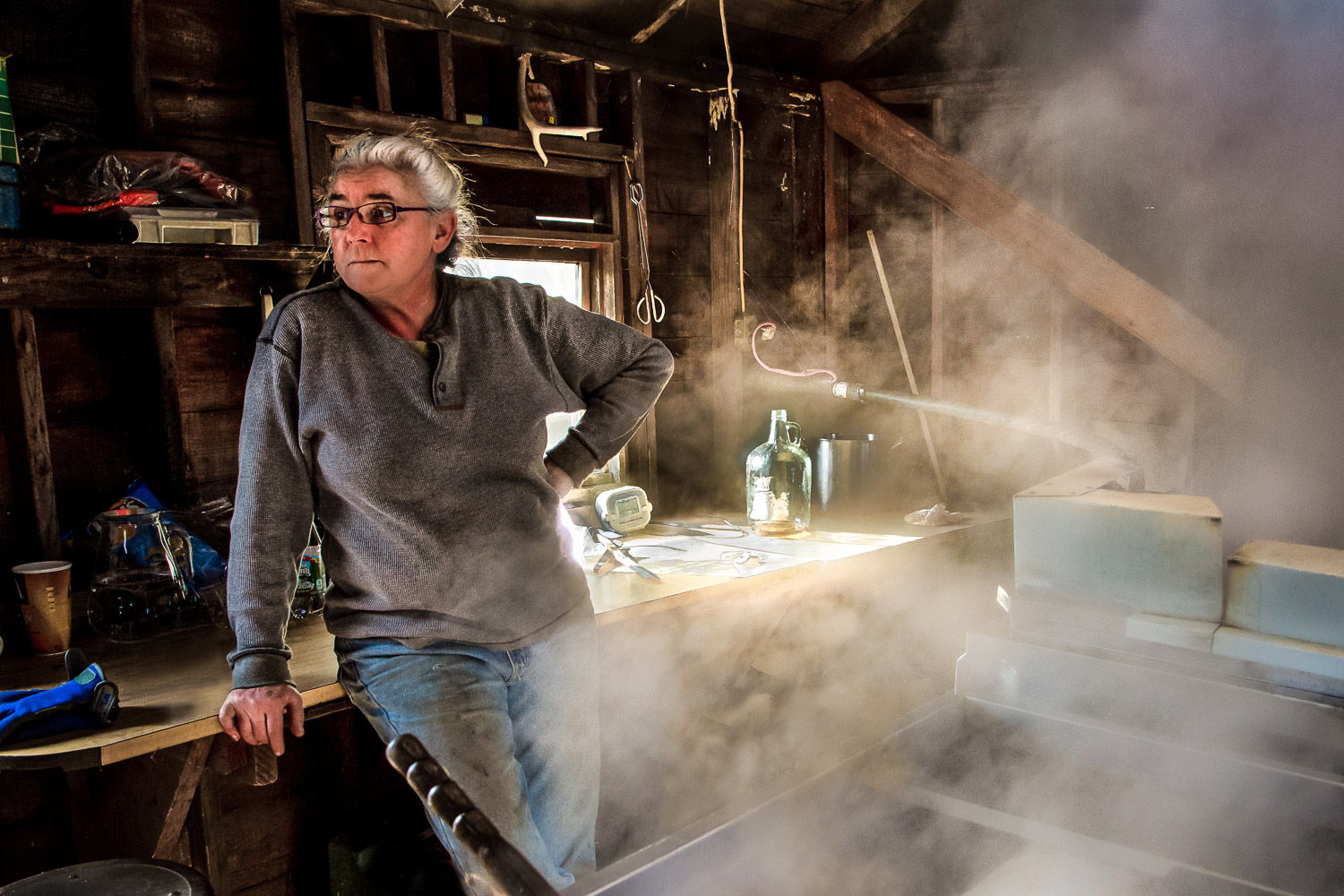 Maple-Syrup-Maker-Surrounded-By-Steam-BW.jpg