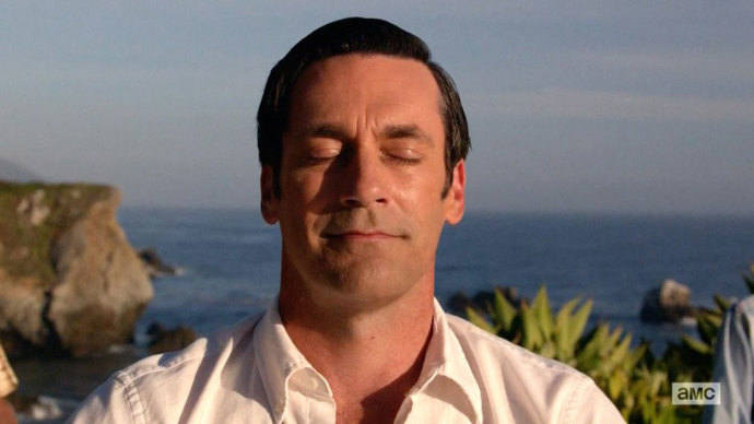 Final image of Don Draper on Mad Men series finale © AMC.
