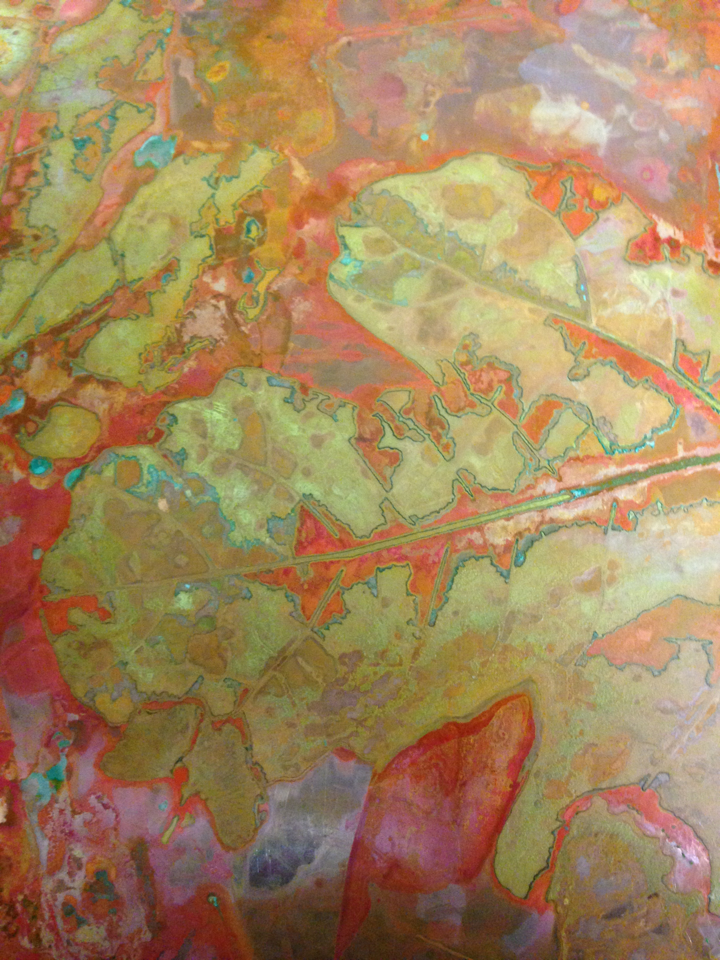 Detail from Fig verdigris on copper sheet, July 2014