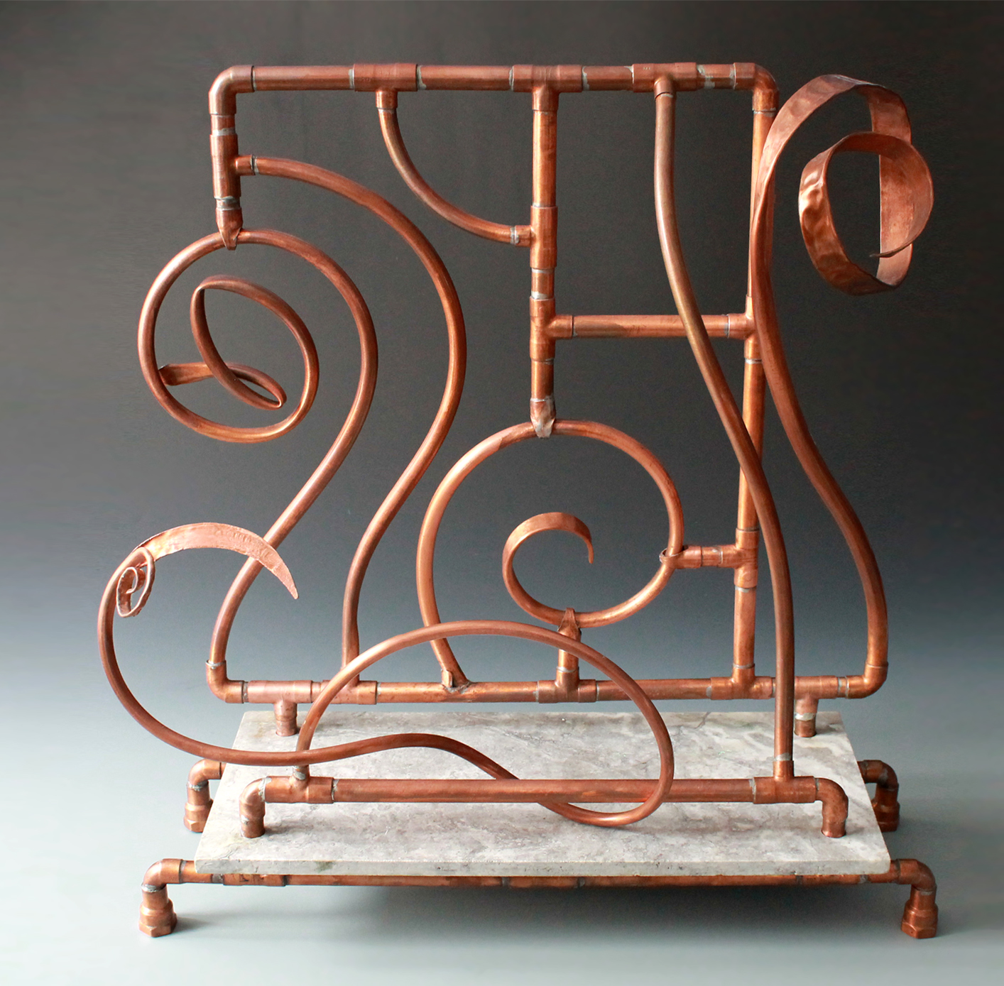 Copper and stone fireplace insert