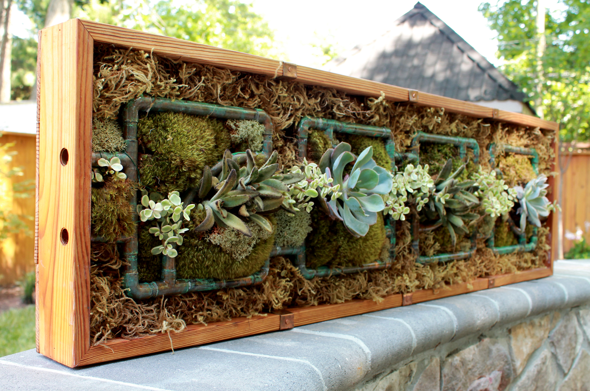 Copper and pine planter box