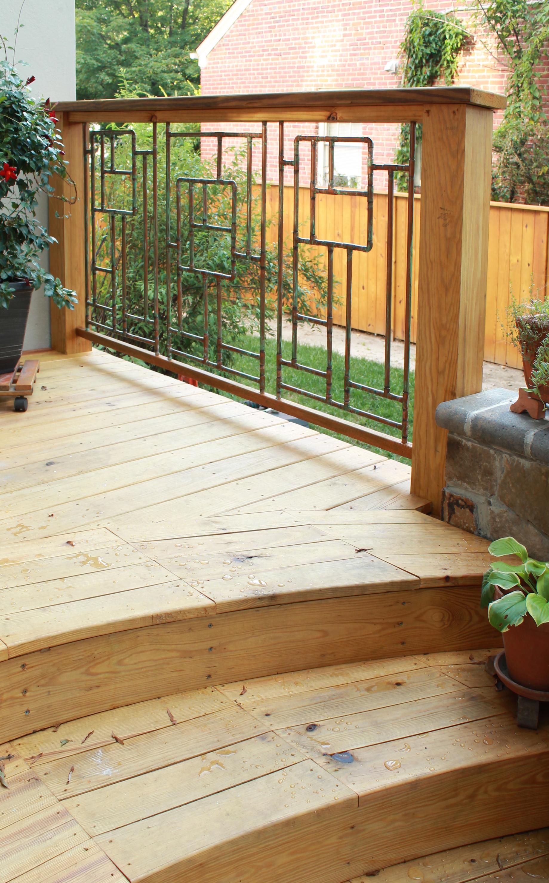Copper railing inset