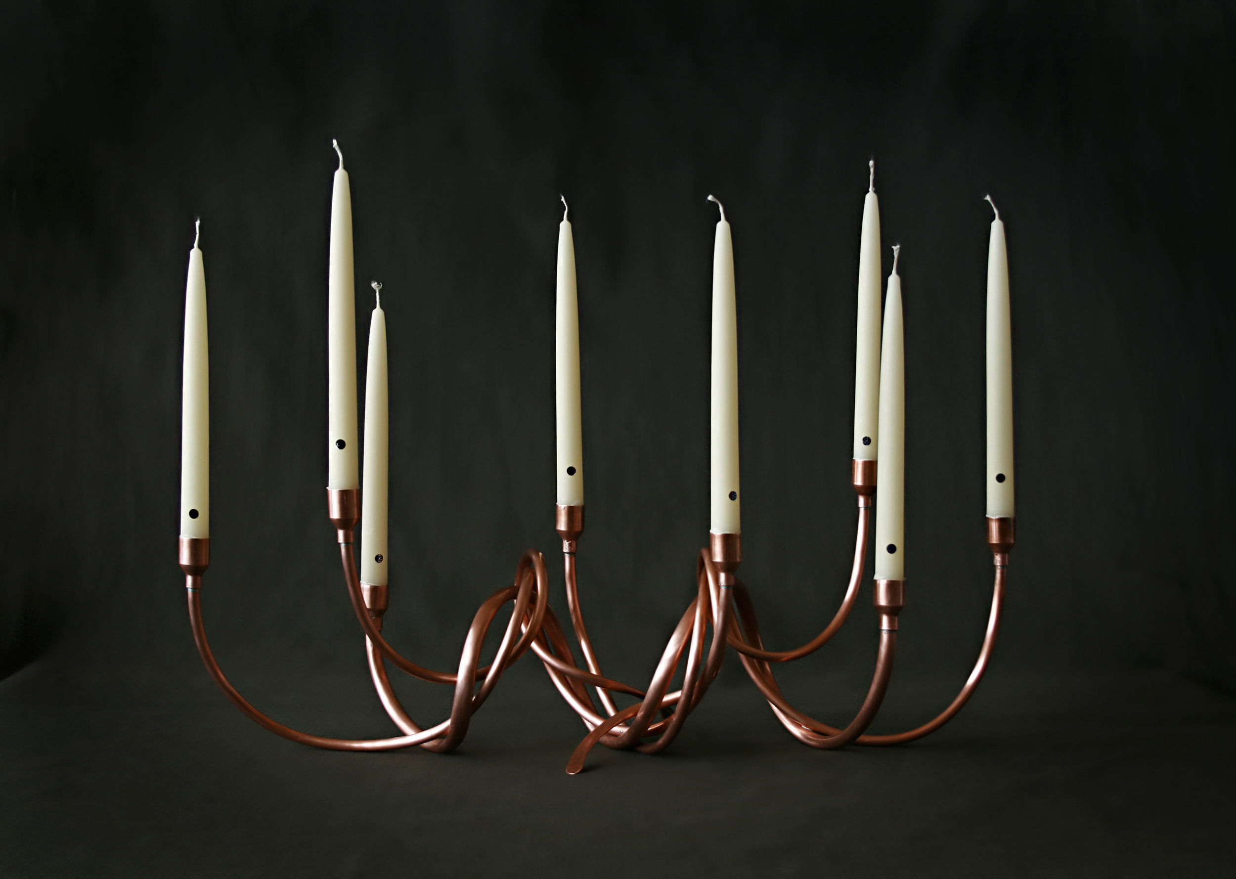 Cold-forged copper candelabra