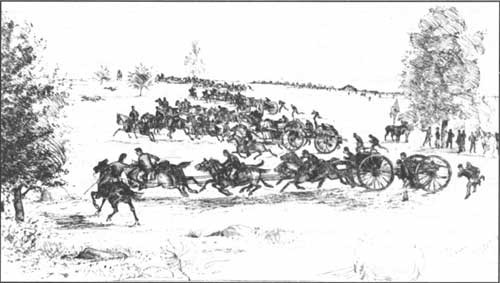 Sketch of the 9th Massachusetts Battery moving into position on the Plum Run Line (Library of Congress)