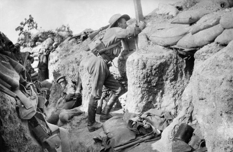 Australian troops in a Gallipoli trench.