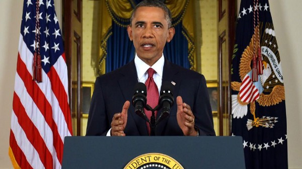 President Barack Obama addresses the nation from the Cross Hall in the White House in Washington. (AP Photo)