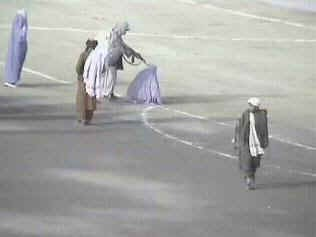 The Taliban executing an Afghan women in Kabul during their reign of terror.