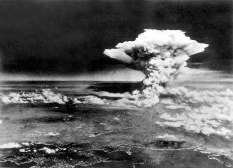 Mushroom cloud over Hiroshima, August 6th, 1945