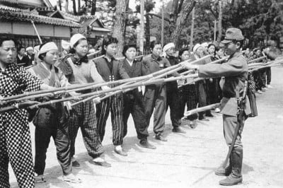 Japanese training of civilians for home defense in anticipation of American invasion, 1945