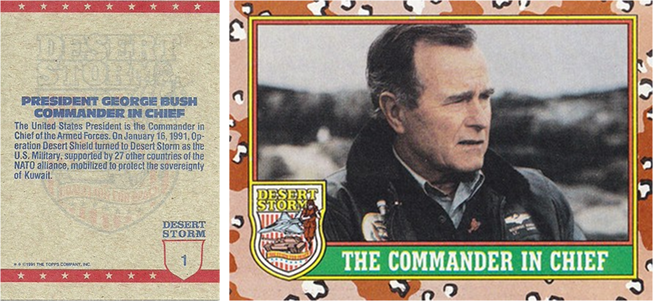 1991 Topps Desert Storm Trading Card featuring President George H.W. Bush (   The Cardboard Connection   )