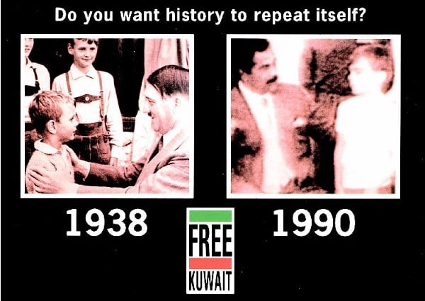 """Saddam-Hitler postcard distributed in Great Britain and the United States by the Free Kuwait Campaign. The backside of the postcard stated: """"On the morning of 2 August 1990, the independent, sovereign state of Kuwait was subjected to an unprovoked invasion by Iraqi forces. Following the invasion, Iraqi troops committed brutal atrocities against the population. This attack, contrary to all fundamental principal of International law, and in total breech of the Charter of United Nations, has been condemned by all the civilized nations of the world as a naked act of aggression. Your voice and vote can make a difference. STOP Iraqi aggression and prevent further atrocities. Please write to your government representative for action. Oppose Iraqi aggression now."""" (Muna al-Mousa & Michael Lorrigan via    Psywarrior.com   )"""