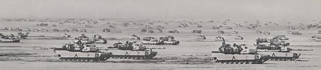 A Brigade of the U.S. 3rd Armored Division masses in northern Saudi Arabia in preparation for the invasion of Iraq during the Gulf War, February 1991. (Wikimedia Commons)