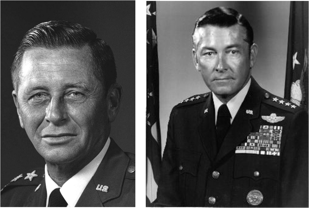 "(L) General Robert J. Dixon, USAF; (R) General Wilbur ""Bill"" Creech, USAF"