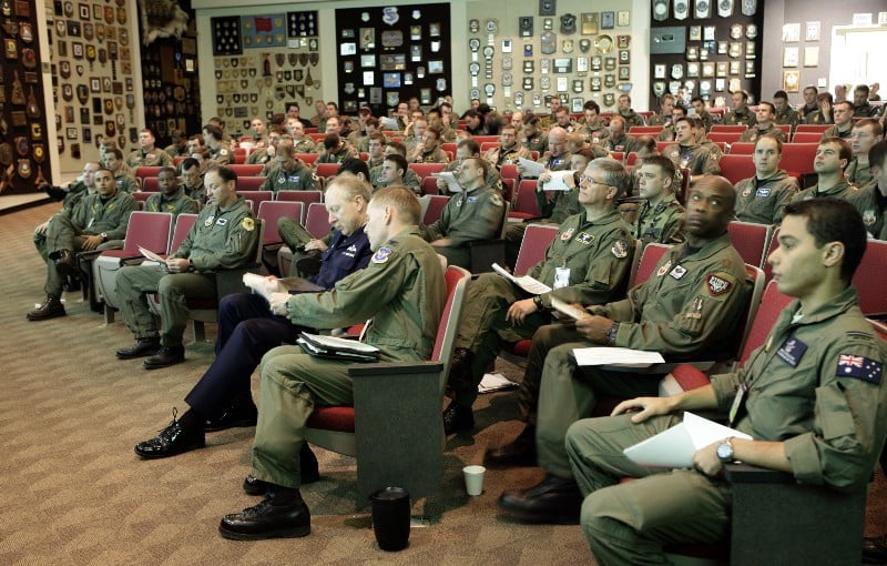 A February 16, 2006 mass briefing on activities of the day for personnel taking part in Exercise Red Flag at Nellis Air Force Base, Nevada. ( Royal Australian Air Force photo )