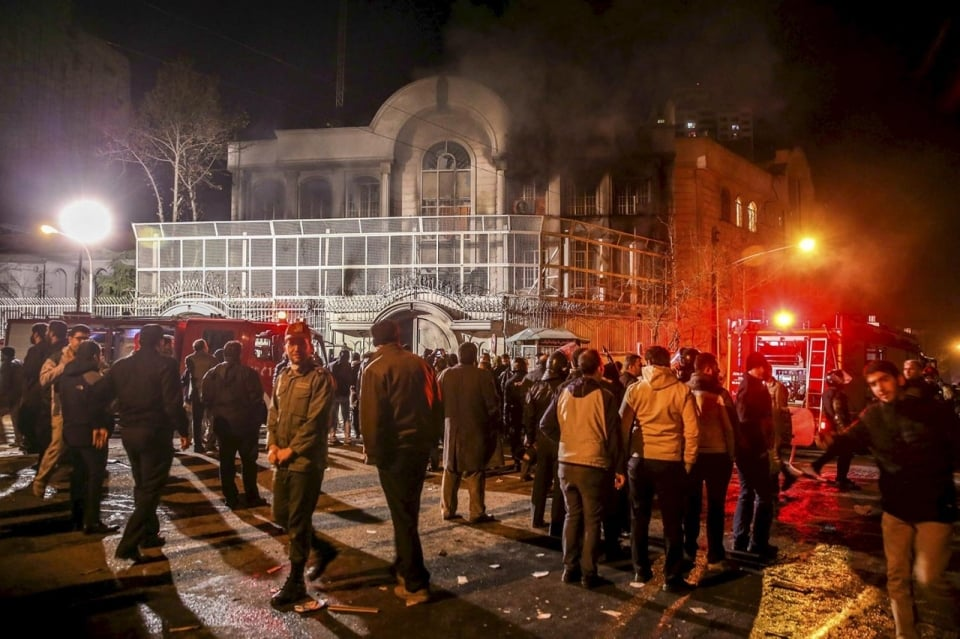 The Saudi Embassy in Tehran after protesters set it on fire, Jan. 2, 2016. (  Mehdi Ghasemi, Reuters)