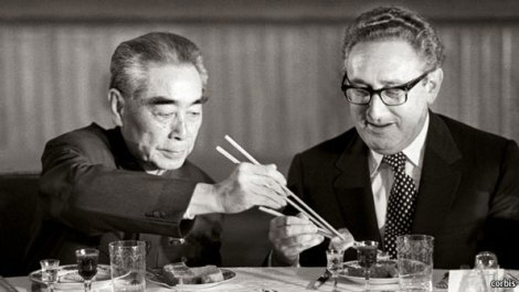 Zhou Enlai and Henry Kissinger. Henry Kissinger is usually credited with asking Zhou Enlai about the effects of the French Revolution on China. (Bettmann/Corbis)