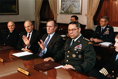 National Security Adviser Brent Scowcroft, Secretary of Defense Richard V. Cheney, President George H.W. Bush and the Chairman of the Joint Chiefs of Staff, General Colin Powell, during Operation Desert Storm, 1991. (Carol T. Powers)