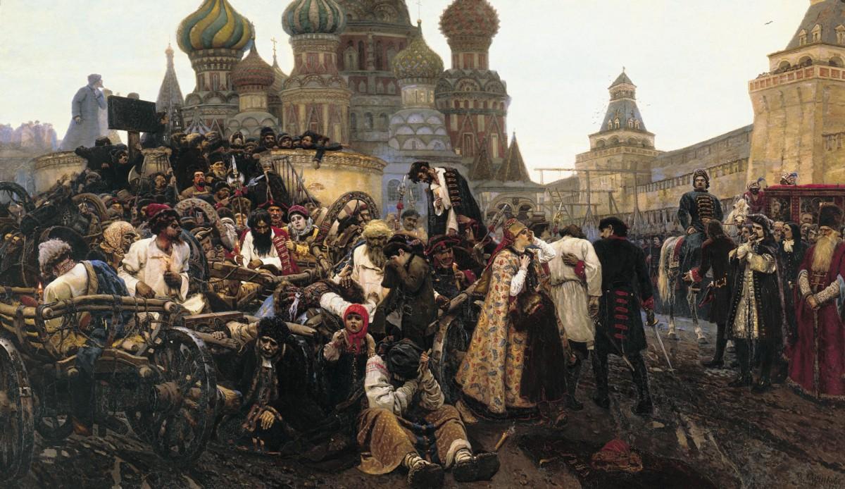 """The morning of the Streltsy execution"" by  Vasily Ivanovich Surikov ."