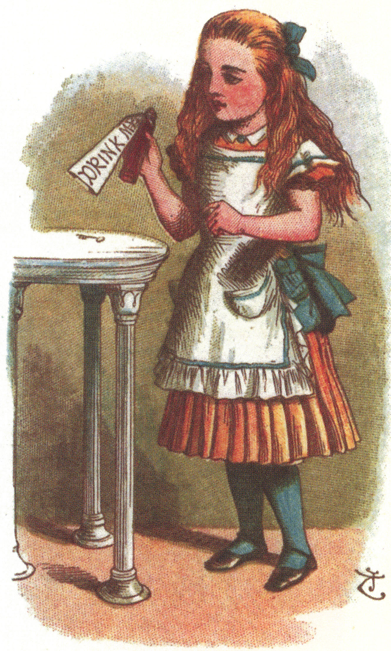 """Alice and a bottle labeled, """"Drink Me,"""" John Tenniel, from The Nursery Alice."""
