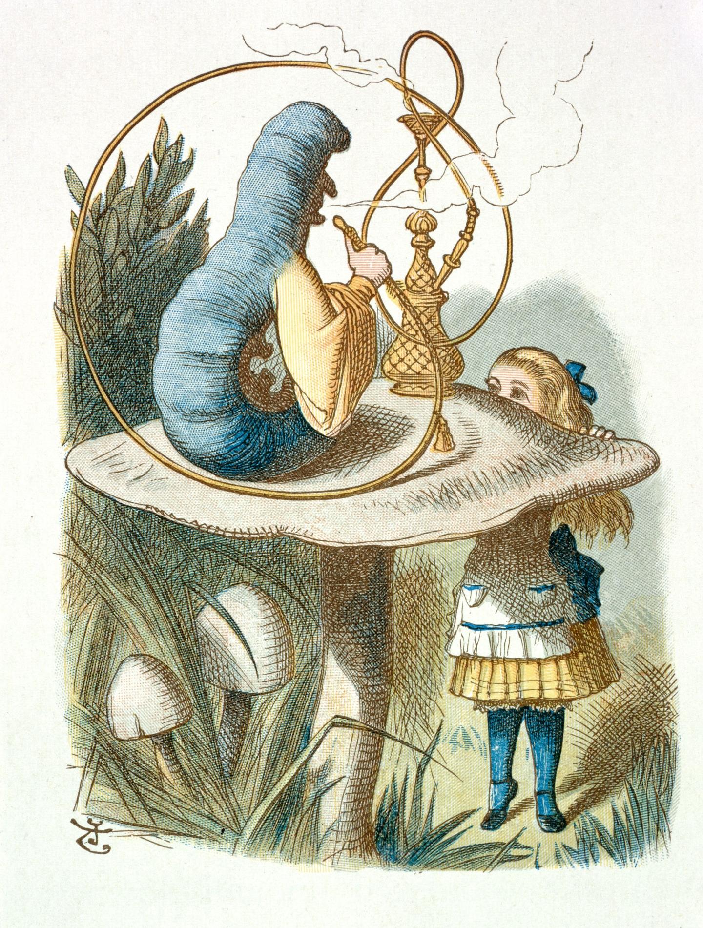 The Caterpillar and Alice, John Tenniel, from The Nursery Alice.