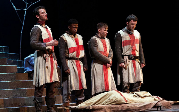 (left to right) Arthur McBain as an English Soldier, Toyin Omari Kinch as Eric the Archer, Tom Gill as Boy Soldier, and George Brockbanks as a Sergeant/Scottish Lord   Photo by KPO Photo