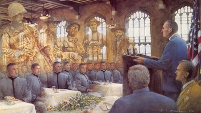 General MacArthur Farwell Address to the Cadets, 1962, Image by artist Paul Steuke accessed from  www.westpoint.org