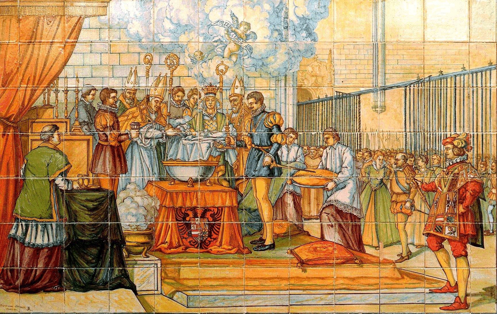 """The Baptism of Phillip II""in Valladolid, Spain. Historical ceiling preserved in Palacio de Pimentel. (Public Domain)"