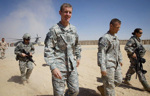 General Stanley A. McChrystal arriving for a meeting with high-ranking military personnel near Kandahar, Afghanistan, in 2009. (Paula Bronstein,Getty Images)