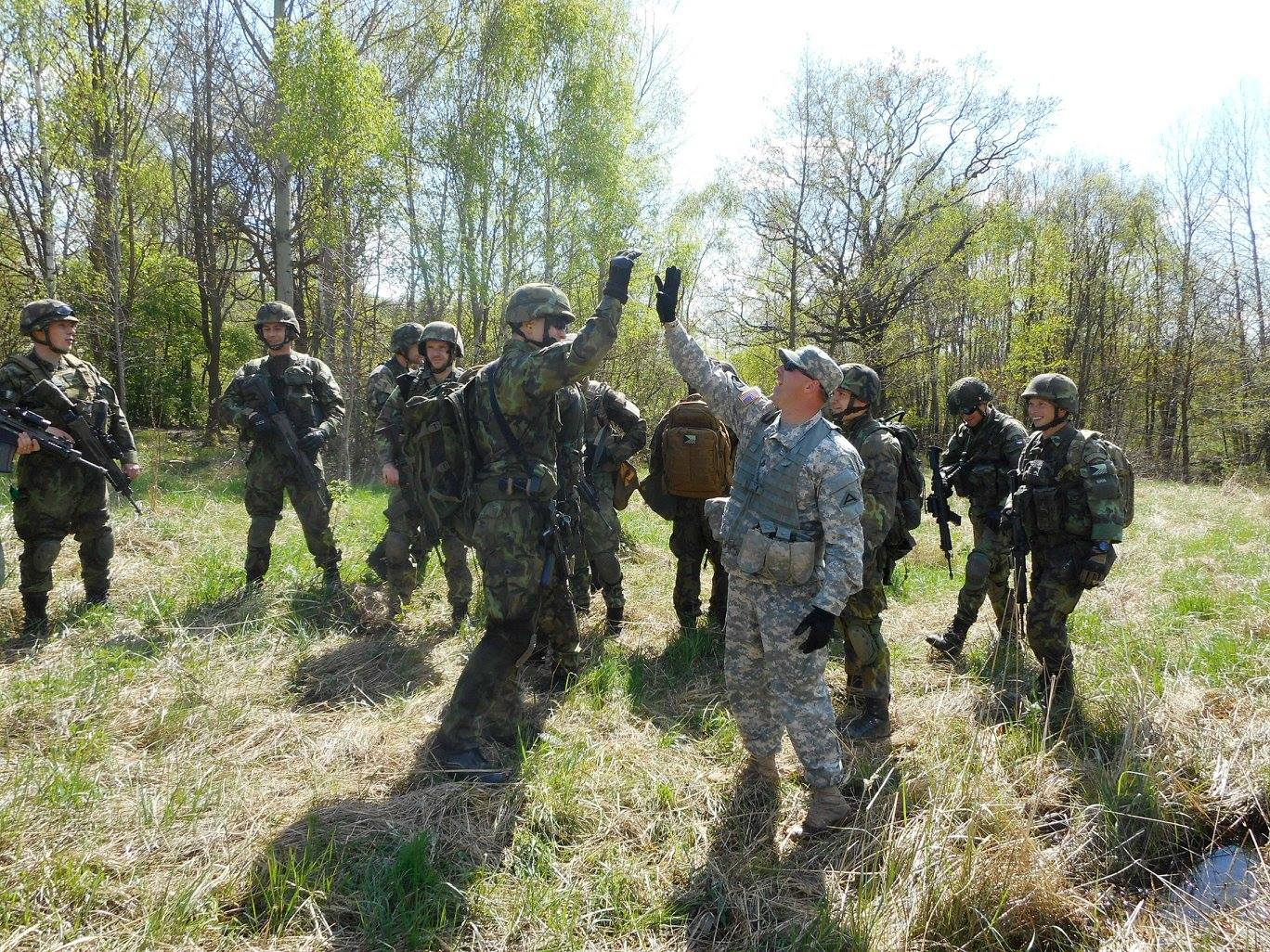 Human-to-human interaction: A 7th Army NCO Academy mobile training team's Warrior Leader Course in the Czech Republic. (Photo courtesy of 7th Army NCO Academy)