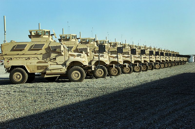 Mine Resistant Ambush Protected vehicles (MRAPs) in Baghdad, 2007. (U.S. Army photo)