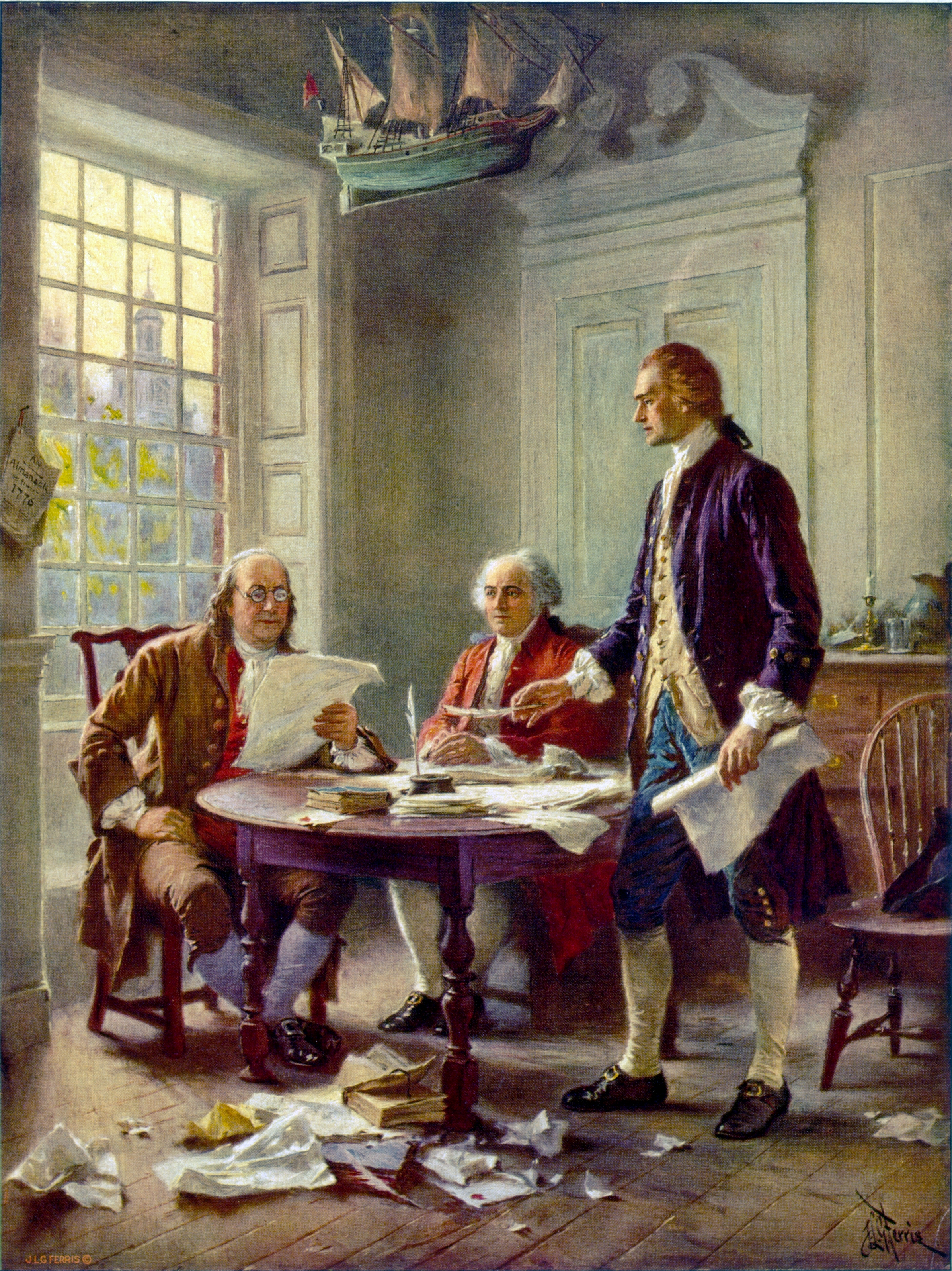This idealized depiction of (left to right) Franklin, Adams, and Jefferson working on the Declaration was widely reprinted. (Wikimedia)