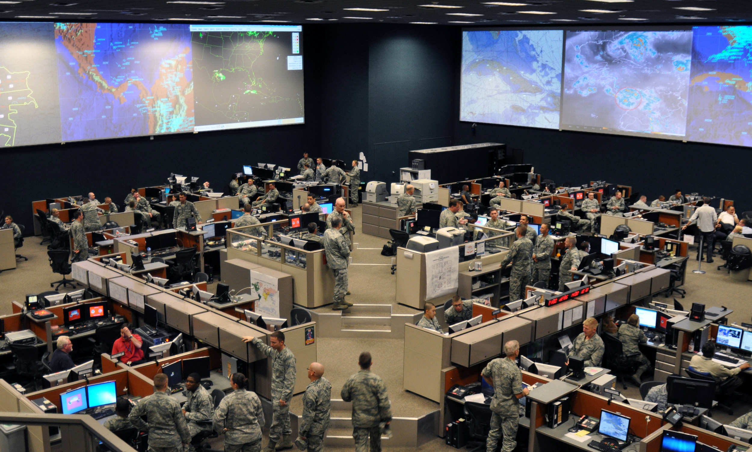 The 612th Air and Space Operations Center provides command and control of air and space power in USSOUTHCOM's area of responsibility, to include 31 countries covering a sixth of the world's land mass. The AOC operates 24-hours-a-day to support joint and coalition efforts in the Caribbean, Central America and South America. ( U.S. Air Force photo by Capt. Justin Brockhoff )