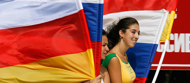 Local residents of South Ossetia celebrating the independence of the republic recognized by Russia on August 25, 2008. (Photo:  Reuters )