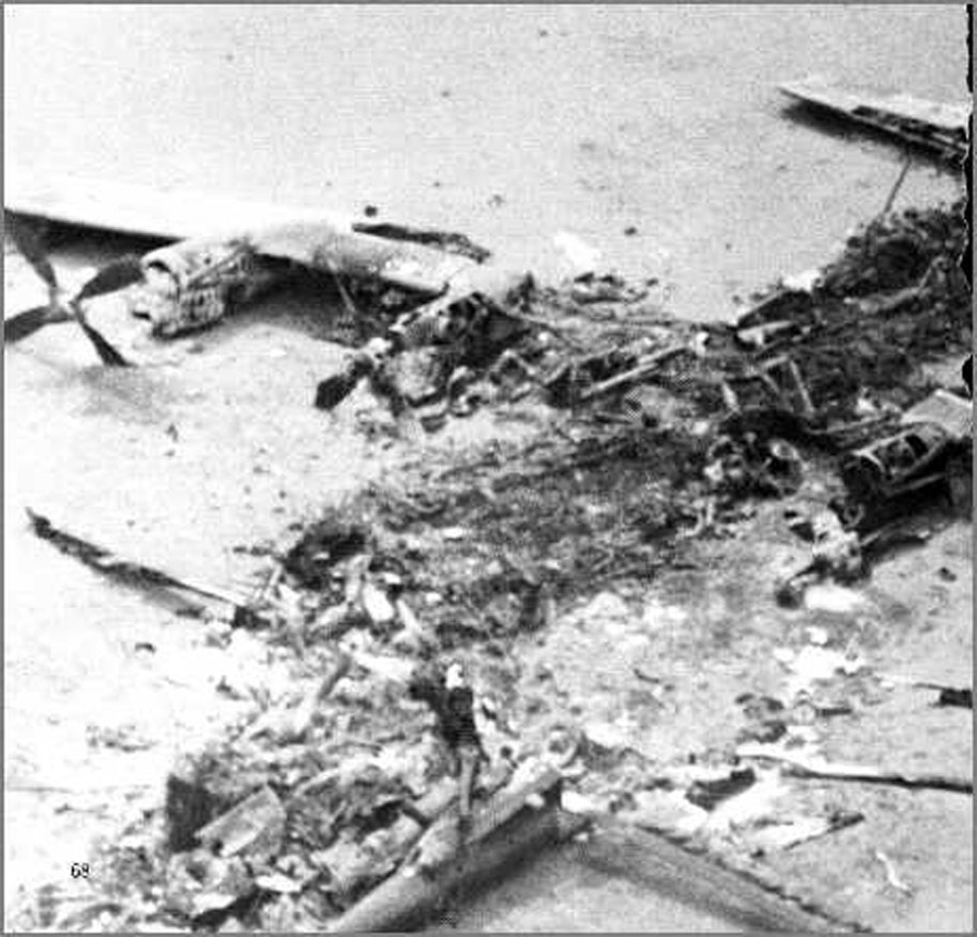 Burned wreckage of a USAF C-130 at the site of Desert One Operation Eagle Claw | Photo courtesy USAF
