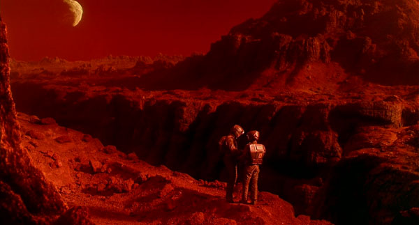 Still  image  of Quaid and Melina on Mars (Total Recall, 1990)