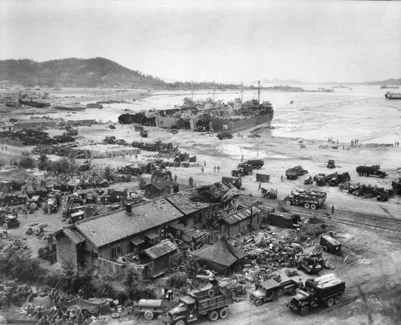 LSTs unloading at Inchon, 15 September 1950.MacArthur's was an intuitive decision based on decades of warfighting experience, or System One thinking. (U.S. Navy Photo)