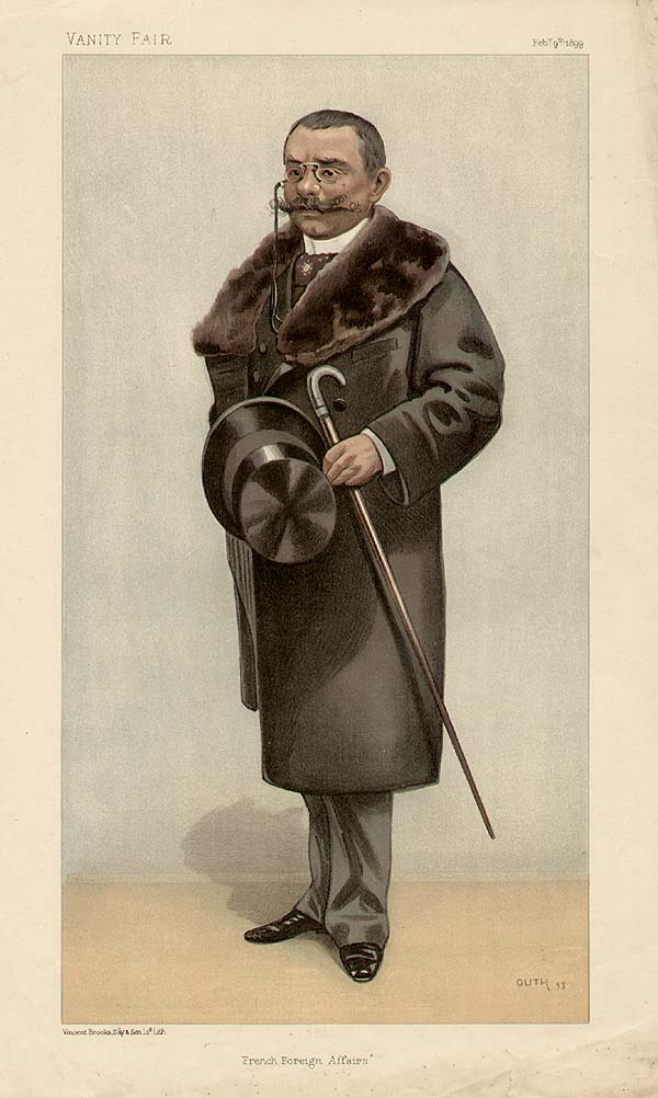 """Caricature of  Théophile Delcassé . Caption read """" French Foreign Affairs """". Accompanying biographical note in Vanity Fair read """"He is now something like the biggest man in France. He did not achieve Fashoda, but he dealt with that little matter so diplomatically that he retains his Portfolio in M. Dupuy's Ministry. For he is a very clever fellow, even among Frenchmen; who can look very firm even after he has decided to yield the inevitable. He is practically the inventor of the French Colonial Department.... With all his pugnacity, or because of it, he likes music. He is an habitué of the opera."""" ( Wikimedia )"""